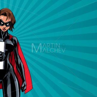 Superheroine Holding Book Ray Light - Martin Malchev