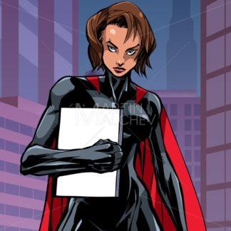 Superheroine Holding Book in City Vertical - Martin Malchev