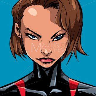 Superheroine Portrait Line Art 2 - Martin Malchev