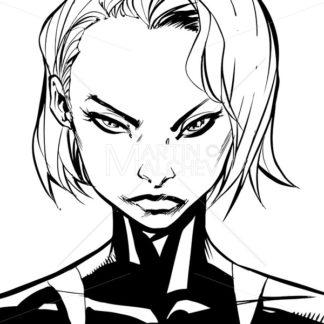 Superheroine Portrait Line Art - Martin Malchev
