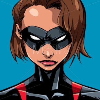 Superheroine Portrait Masked Line Art 2 - Martin Malchev