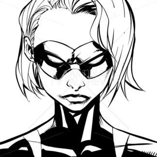 Superheroine Portrait Masked Line Art - Martin Malchev