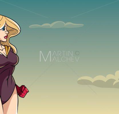 Superheroine Side Profile Sky Background - Martin Malchev