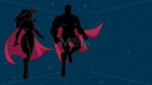 Superhero Couple Flying in Space Silhouette - Martin Malchev