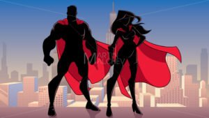 Superhero Couple Standing City Silhouettes - Martin Malchev
