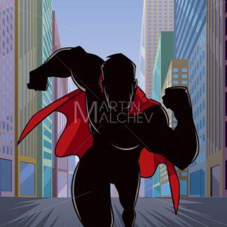 Superhero Running in City Silhouette - Martin Malchev