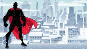 Superhero Standing Tall Winter Silhouette - Martin Malchev