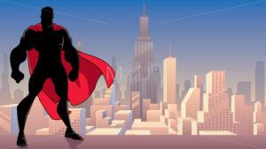 Superhero Standing Tall in City Silhouette - Martin Malchev