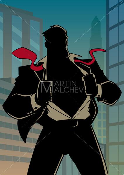Superhero Under Cover in City Silhouette - Martin Malchev