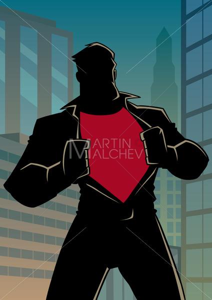Superhero under Cover Casual in City Silhouette - Martin Malchev
