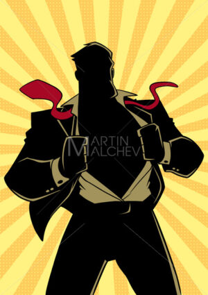 Superhero under Cover Suit Ray Light Silhouette - Martin Malchev