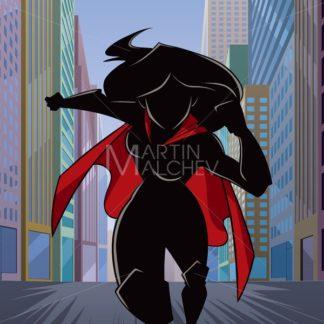 Superheroine Running in City Silhouette - Martin Malchev