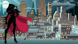 Superheroine Standing Night City Silhouette - Martin Malchev
