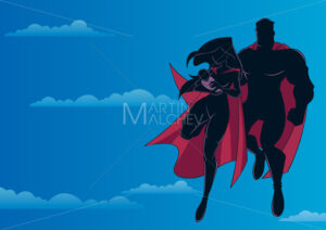 Super Mom Dad and Baby Sky Silhouette - Martin Malchev