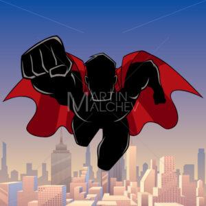 Superhero Coming City Silhouette - Martin Malchev