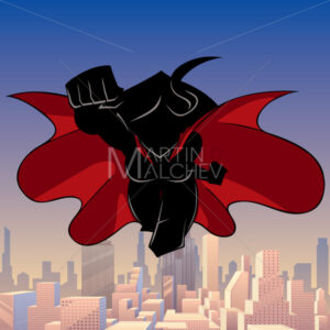 Superheroine Coming City Silhouette - Martin Malchev