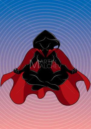 Superheroine Meditating Background Silhouette - Martin Malchev
