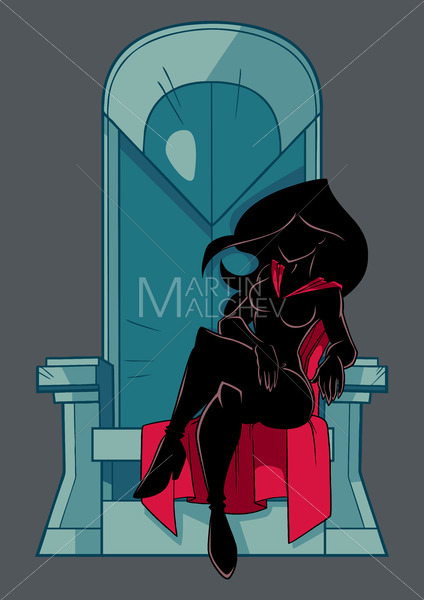 Superheroine on Throne Silhouette - Martin Malchev