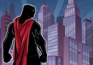Superhero Back in City Silhouette - Martin Malchev