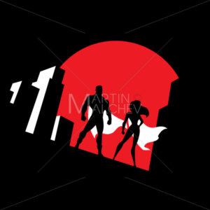 Superhero Couple Background Symbol - Martin Malchev