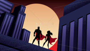 Superhero Couple City Night - Martin Malchev