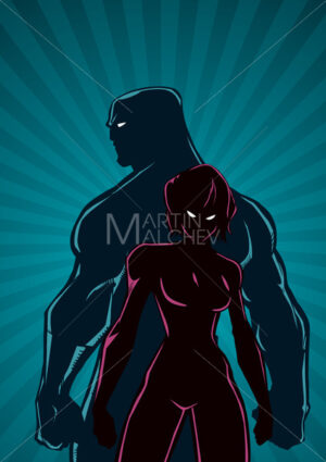 Superhero Couple Ray Light Vertical Silhouette - Martin Malchev