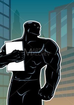 Superhero Holding Book in City Vertical Silhouette - Martin Malchev