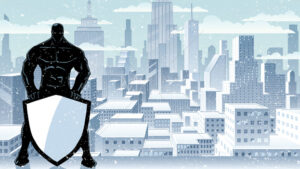 Superhero Holding Shield Winter City Silhouette - Martin Malchev