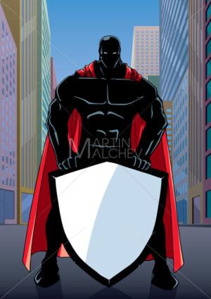 Superhero Holding Shield on Street Silhouette - Martin Malchev