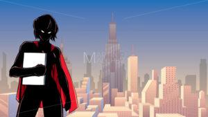 Superheroine Holding Book in City Silhouette - Martin Malchev
