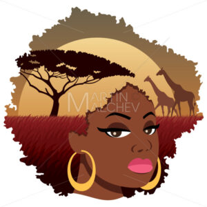 African Girl Landscape - Clip-Art and Video