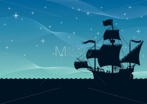 Ship Sailing Night - Clip-Art and Video