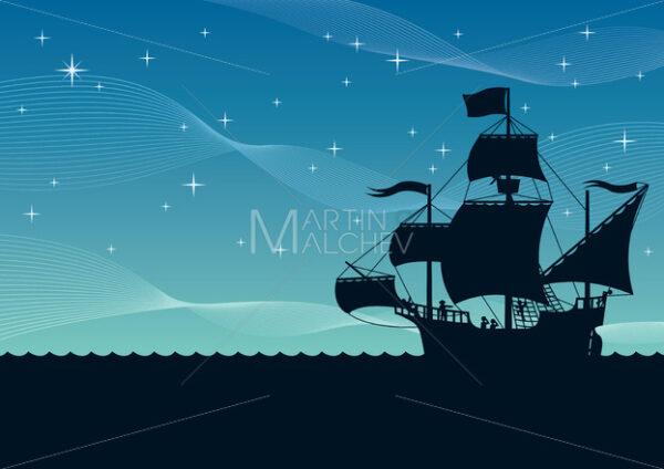 Ship Sailing Night - Clip-Art and Video