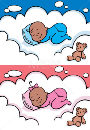 Sleeping Baby Black - Clip-Art and Video