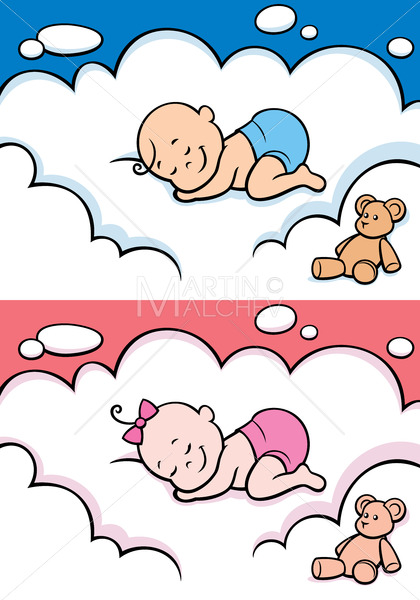 Sleeping Baby in Diaper - Clip-Art and Video