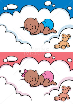 Sleeping Baby in Diaper Black - Clip-Art and Video