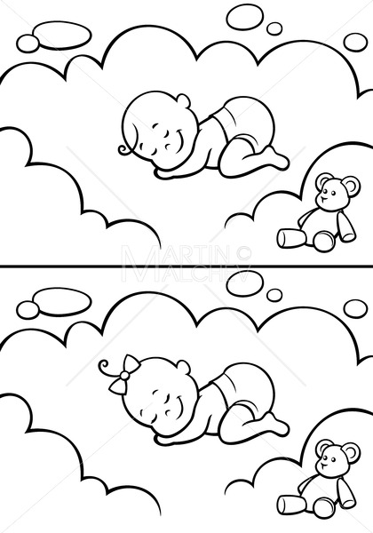 Sleeping Baby in Diapers Line Art - Clip-Art and Video