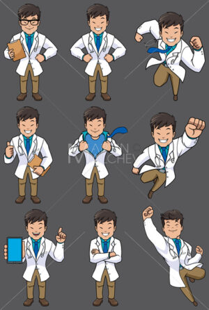 Doctor Asian Set - Clip-Art and Video