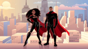 Superhero Couple Black City Day - Martin Malchev