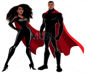Superhero Couple Black on White - Martin Malchev