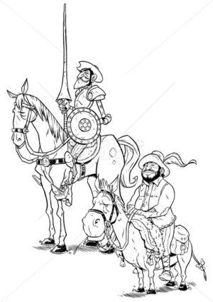 Don Quixote and Sancho Panza Line Art - Martin Malchev