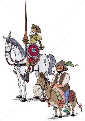 Don Quixote and Sancho Panza on White - Martin Malchev