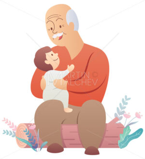 Grandfather and Baby on White - Martin Malchev