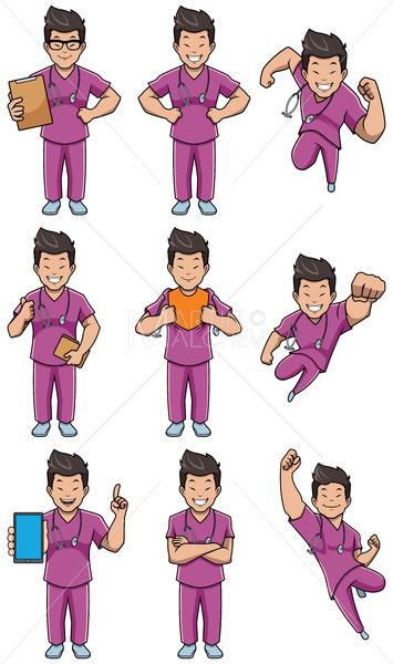 Nurse Asian Male Set - Martin Malchev