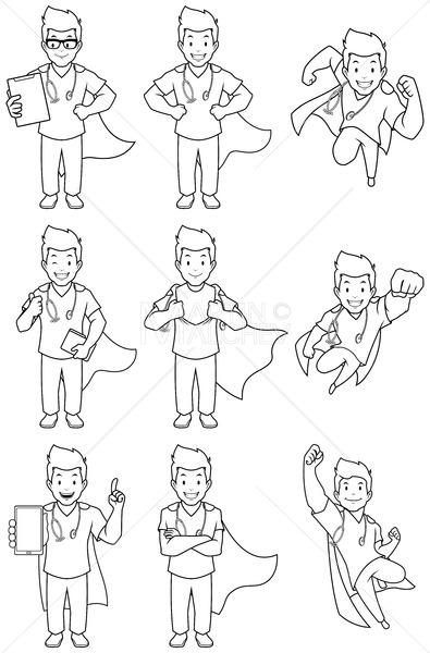 Super Nurse Male Line Art - Martin Malchev