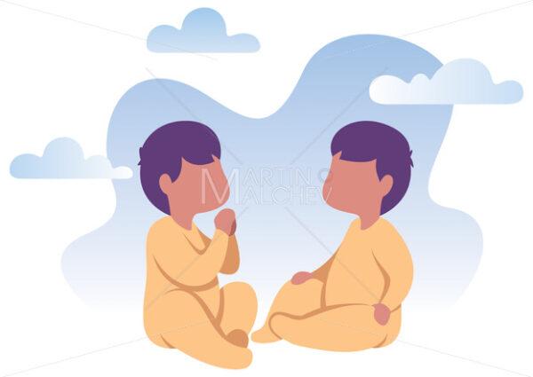 Baby Twins Flat Design - Martin Malchev