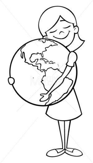 Child and Earth Line Art - Martin Malchev