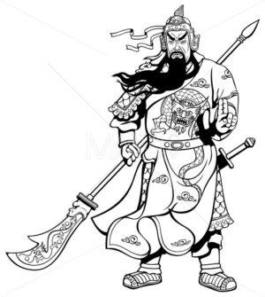 Chinese Warrior 2 Line Art - Martin Malchev