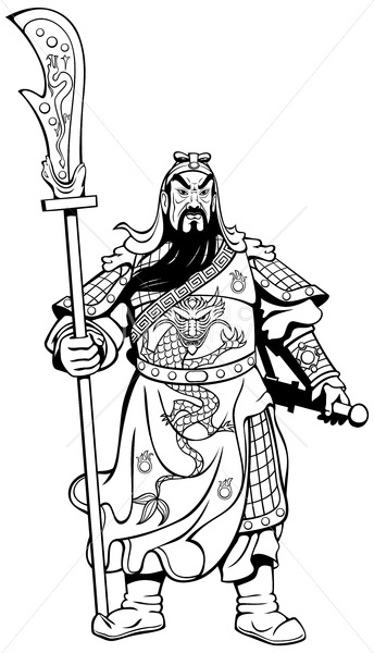 Chinese Warrior Line Art - Martin Malchev