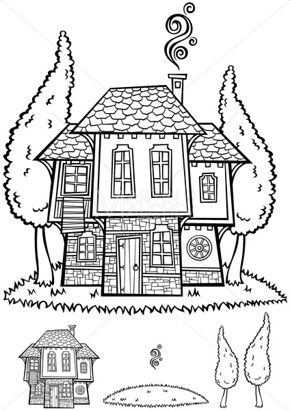 Traditional Bulgarian House Line Art - Martin Malchev